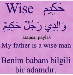 Benim babam bilgili adamdır – حَكِيمٌ
