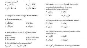 8.Sınıf Arapça 2.Dönem 2.Sınav Soruları